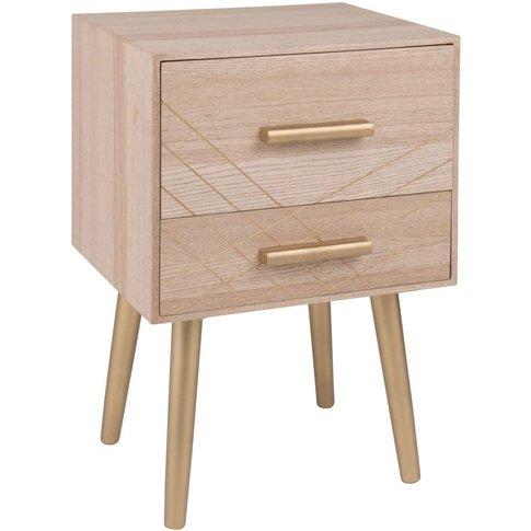 Matte Gold 2-Drawer Bedside Table