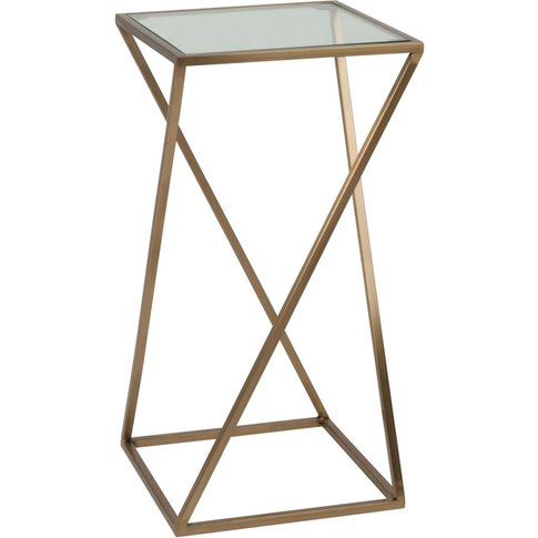 Matte Gold Metal And Glass Side Table