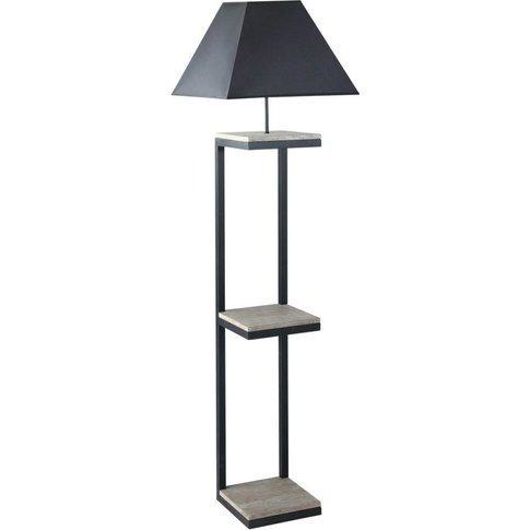 Metal And Fir Floor Lamp With Black Cotton Lampshade...