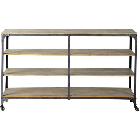 Metal And Fir Industrial Console Table On Castors In Charcoal Grey Brooklyn