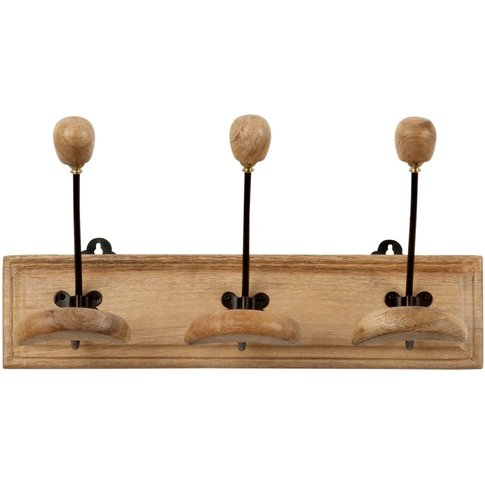 Metal and Mango Wood 3-Hook Coat Rack