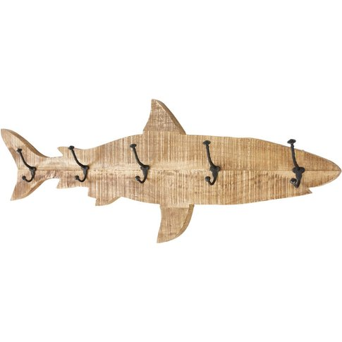Metal And Mango Wood 5-Hook Shark Coat Rack