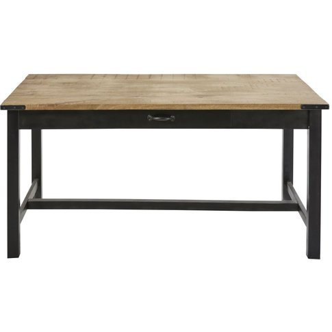 Metal And Mango Wood 6-8 Seater Dining Table W160 Al...