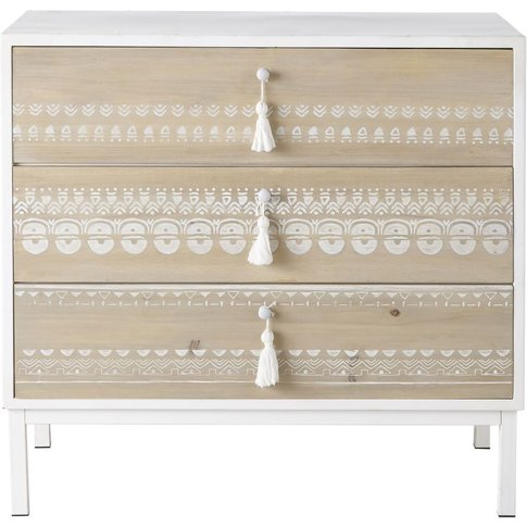 Metal And Solid Fir 3-Drawer Chest Of Drawers Latika