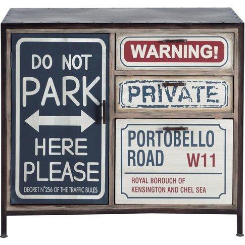 Metal And Wood Printed Industrial Sideboard In Black...
