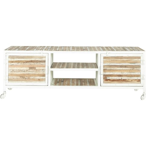 Metal And Wood Tv Unit In White W 140cm Mistral