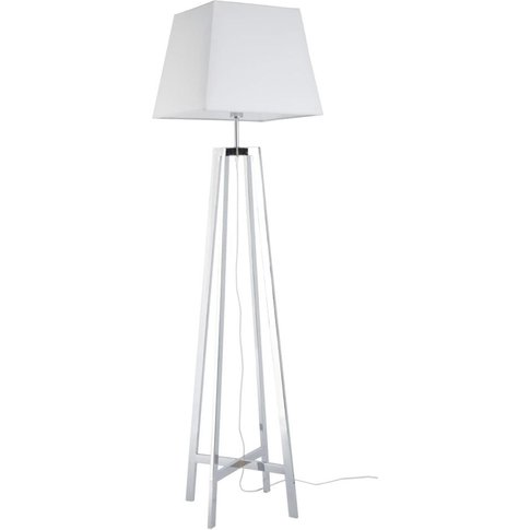 Metal Floor Lamp With White Cotton Lampshade H171