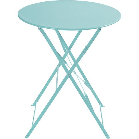 Metal folding garden table in turquoise D 58cm Guing...