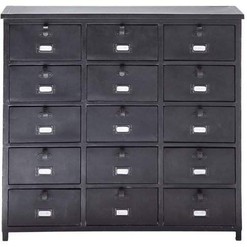 Metal Industrial Cabinet In Black W 88cm Edison