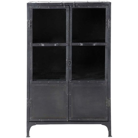 Metal Industrial Glazed Cabinet In Black W 75cm Edison