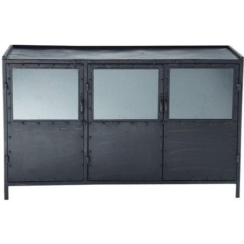 Metal Industrial Glazed Sideboard In Black W 130cm E...