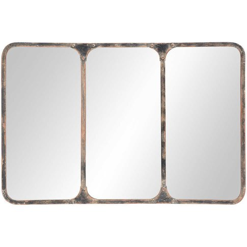 Metal Industrial Mirror in Black, 106x72