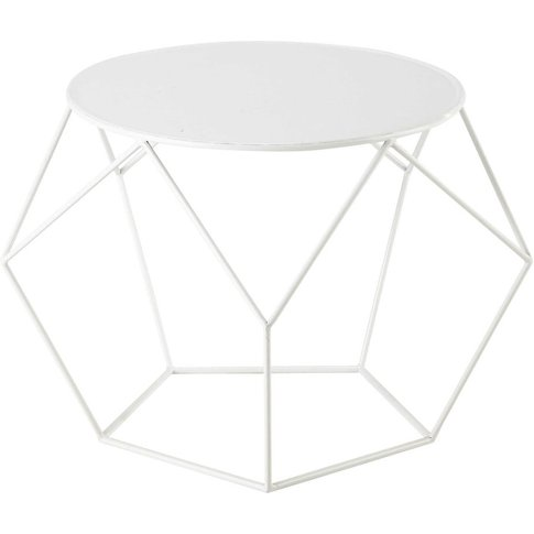 Metal Round Coffee Table In White D 64cm Prism