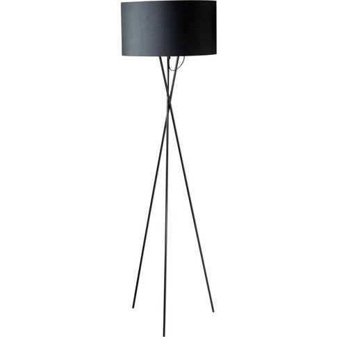 Metal Tripod Floor Lamp With Black Cotton Lampshade ...
