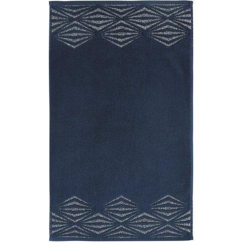 Midnight Blue Bath Mat With Silver Print 50x80