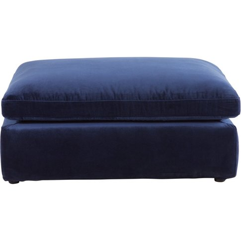 Midnight Blue Velvet Modular Sofa Pouffe Midnight