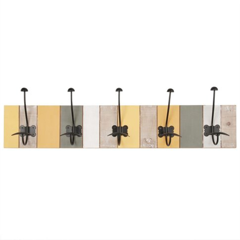 Multicoloured and Black Metal 5-Hook Coat Rack