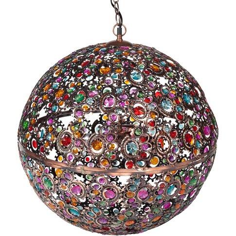 Multicoloured Ball Pendant Lamp In Copper Metal