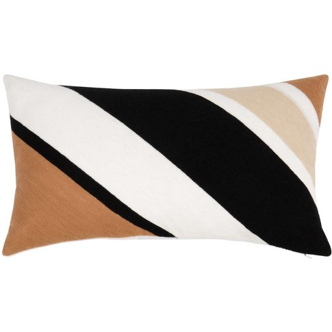 Multicoloured Cotton Cushion Cover With Striped Prin...