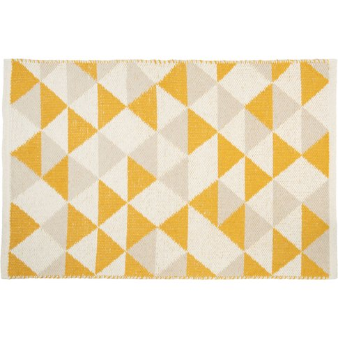 Multicoloured Cotton Rug With Graphic Motifs 60x90