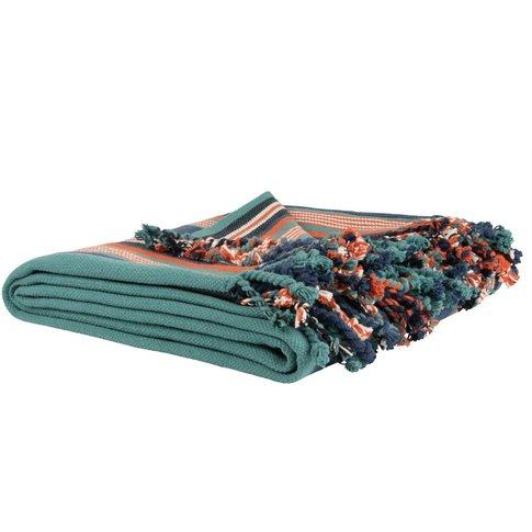 Multicoloured Deckchair-Striped Cotton Throw 160x210