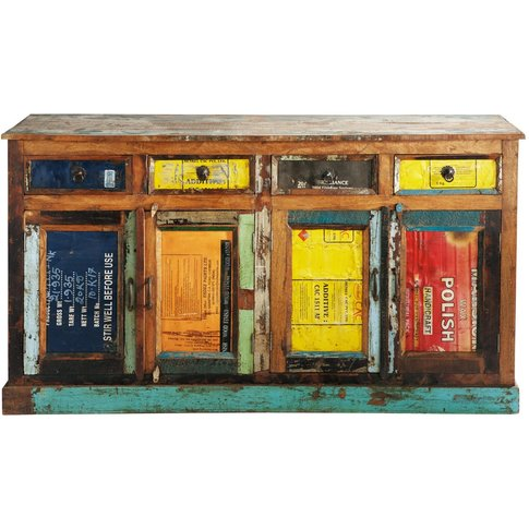 Multicoloured Recycled Wood Sideboard, W 165 Récup