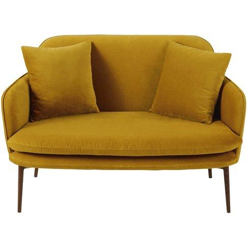 Mustard Yellow 2-Seater Velvet Sofa Bench Sacha