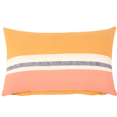 Mustard Yellow and Pink Cotton Cushion Cover 30x50
