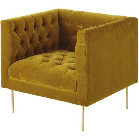 Mustard Yellow Velvet Armchair Liam