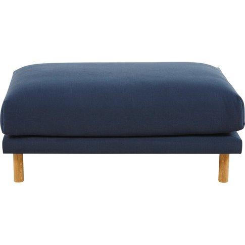 Navy Blue Cotton and Linen Modular Sofa Pouffe Raoul