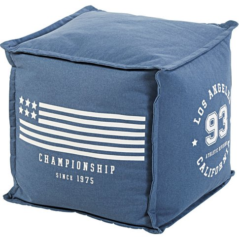 Navy Blue Cotton Footstool With White Print