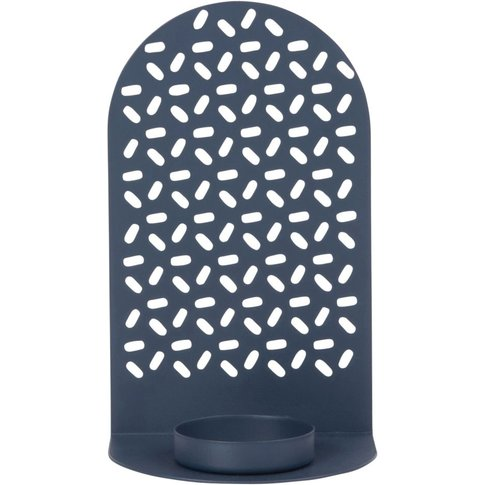 Navy Blue Cut-Out Metal Candle Holder