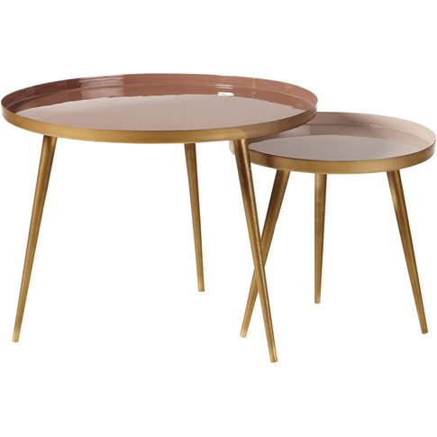 Nest Of Tables In Pinky Beige And Gold Metal Avril