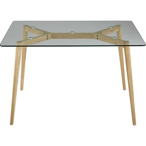 Oak and glass dining table L 120 Mirage