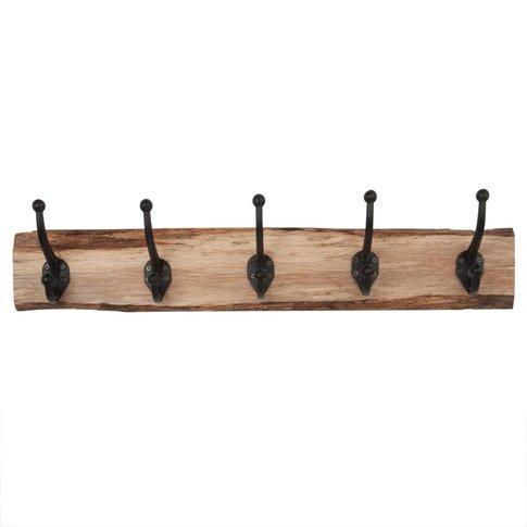 Oak and Metal 5-Hook Coat Rack