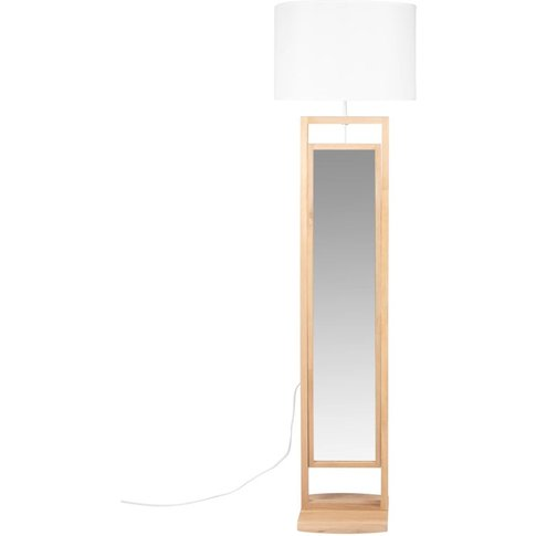 Oak Floor Lamp/Cheval Glass With White Shade