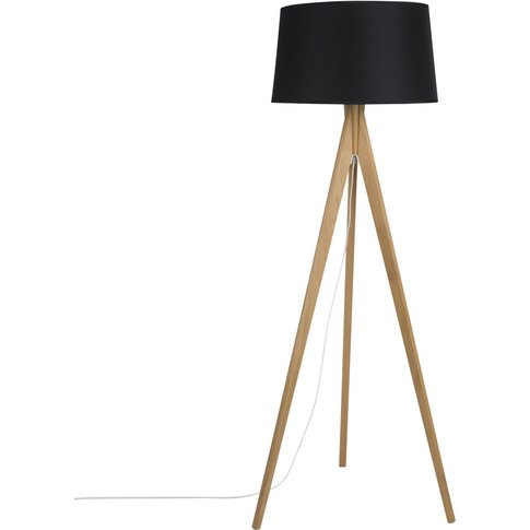 Oak Tripod Floor Lamp With Black Shade H160