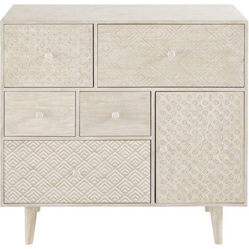 Off-White 5-Drawer 1-Door Storage Cabinet Zen Market