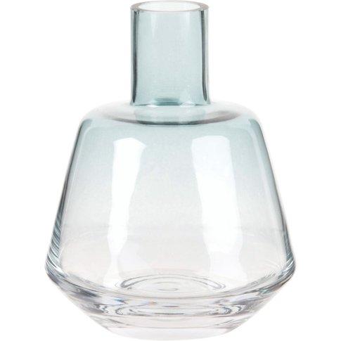 Ombre Blue Glass Vase H14