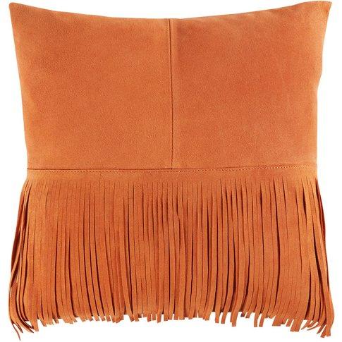 Orange Fringed Leather Pouffe 40x40