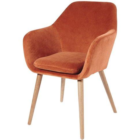 Orange Vintage Velvet Armchair Arnold
