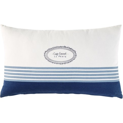 Outdoor Cushion In Ecru Cotton With Blue Print 30x50