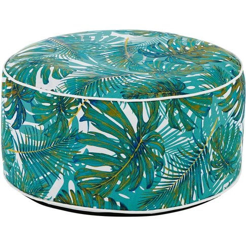 Outdoor Pouffe with Plant Print