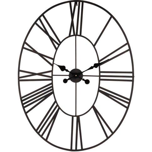 Oval Black Metal Clock 106x66