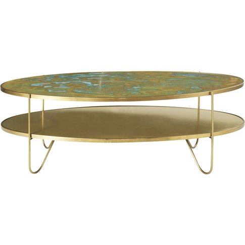 Oval Brass Coffee Table With Two Surfaces Zenith