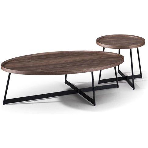 Oval Faux Walnut And Black Metal Nesting Tables Wyatt