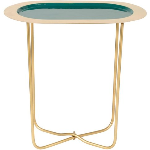 Oval Green Metal And Gold Side Table