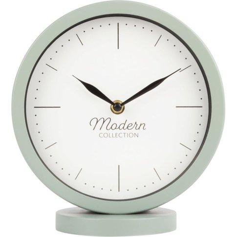 Pale Blue Metal Desk Clock 20x22