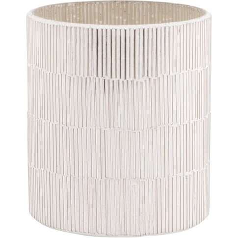 Pale Grey Tinted Ribbed Glass Tealight Holder