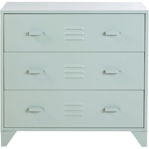 Pastel Blue Metal Industrial 3-Drawer Chest Of Drawe...